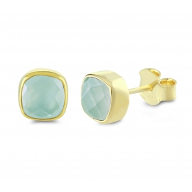 Mini ear studs with aqua chalcedonies - gold plated