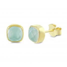 Mini ear studs with aqua chalcedonies- gold plated
