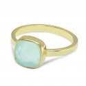 Bracelet with aqua chalcedony in gold plated silver