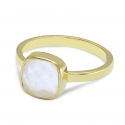 Ring with aqua chalcedony - gold plated
