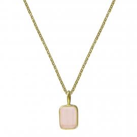 Kette mit kleinem rosa Chalcedon - vergoldet