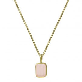 Necklace with small pink chalcedony - gold plated