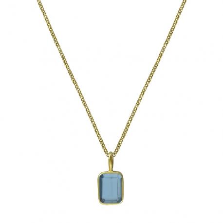 Kette mit kleinem blauem Quarz - vergoldet