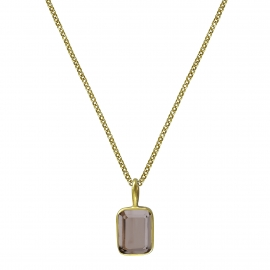 Necklace with small smoky quartz - gold plated
