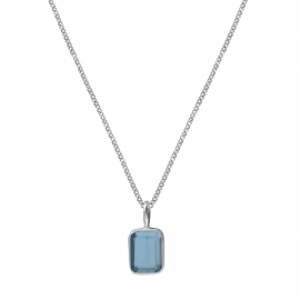 Necklace with small blue quartz - silver