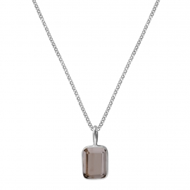 Necklace with small smoky quartz - silver