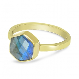 Ring mit sechseckigem Labradorit - vergoldet