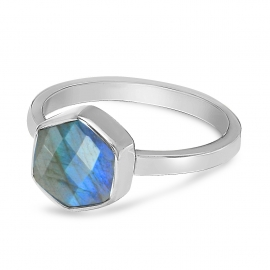 Ring with hexagon labradorite - gold plated