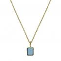 Ring mit blauem Quarz - vergoldet