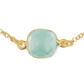 Long necklace with 8 aqua chalcedonies - vergoldet