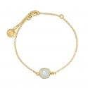 Lange Halskette mit 8 Aqua Chalcedon - vergoldet