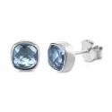 Lange Halskette mit 8 blauen Quarzen - Silber