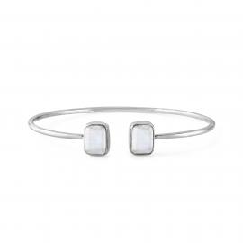 Ear hangers with aqua chalcedonies - silver