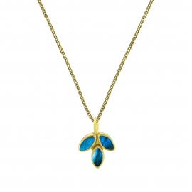 Necklace with labradorite blossom pendant - gold plated