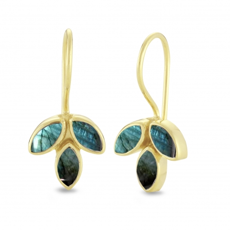 Blossom ear hangers with labradorite - gold plated