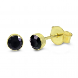 Solitaire ear studs with black onyx - gold plated