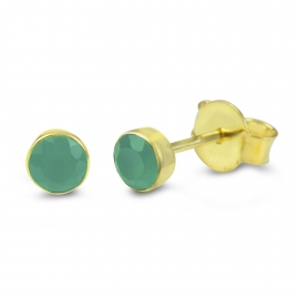 Solitaire ear studs with green onyx - gold plated