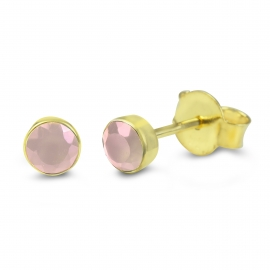 Solitaire ear studs with pink chalcedony - gold plated
