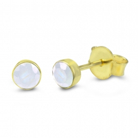 Solitaire ear studs with mooonstone - gold plated