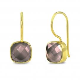 Ohrringe mit quadratischem, braunem Rauchquarz- vergoldet