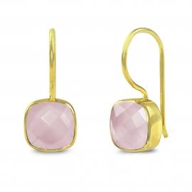 Ohrringe mit quadratischem, rosa Chalcedon - vergoldet