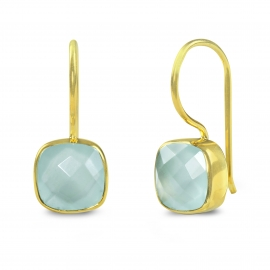 Ear hangers with aqua chalcedonies - gold plated