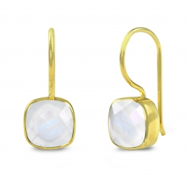 Ear hangers with moonstones - gold plated