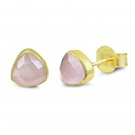 Ohrstecker mit rosa Chalcedon - vergoldet
