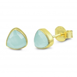 Ear studs with green onyx - gold plated