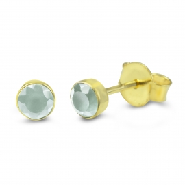Solitaire ear studs with turquoise aqua chalcedony - gold plated