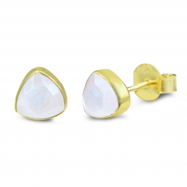 Triangle ear studs with white moonstone - gold plated