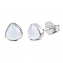 Triangle ear studs with white moonstone - silver