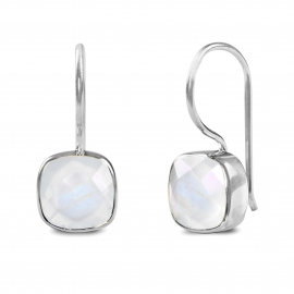 Earrings with square, white moonstone - silver