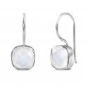 Ohrringe mit quadratischem, weissem Mondstein - Silber