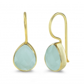 Drop earring with pink chalcedony - gold plated