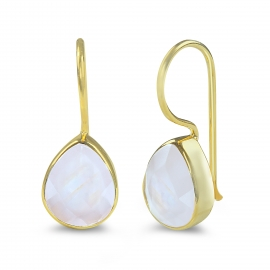 Drop earring with turquoise aqua chalcedony - gold plated