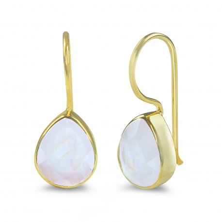 Tropfen Ohrringe mit türkisem Aqua Chalcedon - vergoldet