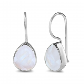 Drop earring with white moonstone - gold plated