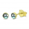 Solitaire ear studs with labradorite - gold plated