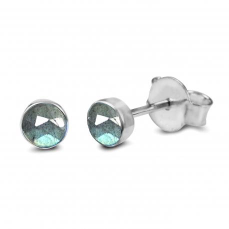 Solitaire ear studs with labradorite - silver