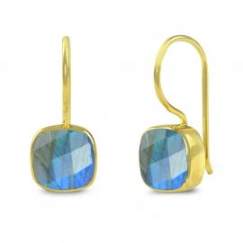 Earrings with square labradorite - gold plated