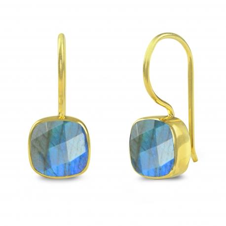 Ohrringe mit quadratischem Labradorit - vergoldet