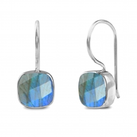 Earrings with square labradorite - Silver