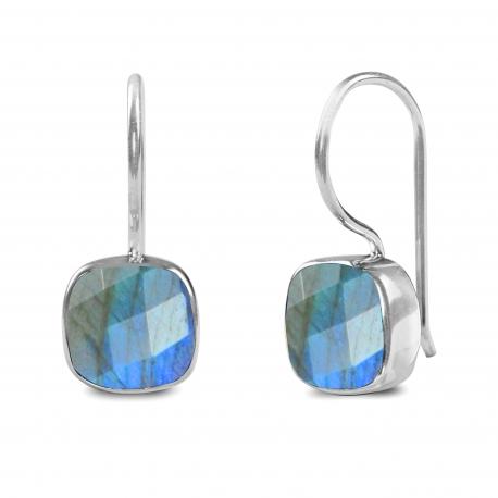 Ohrringe mit quadratischem Labradorit - Silber
