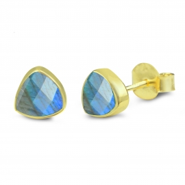 Triangle ear studs with labradorite - gold plated