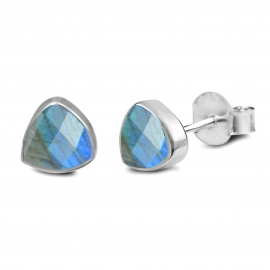 Triangle ear studs with labradorite - silver
