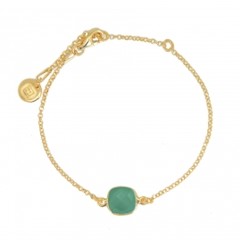 Bracelet with square green onyx - gold plated
