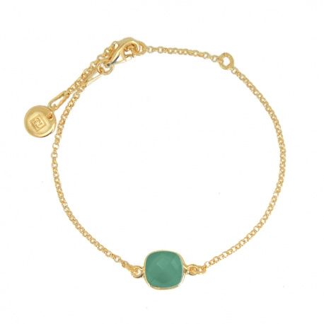 Bracelet with square labradorite - gold plated