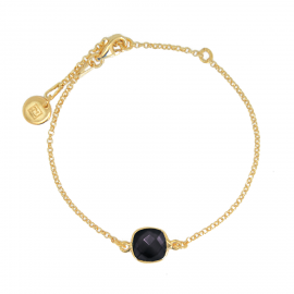 Bracelet with square black onyx - gold plated