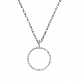 Minimalistic necklace with circle - silver